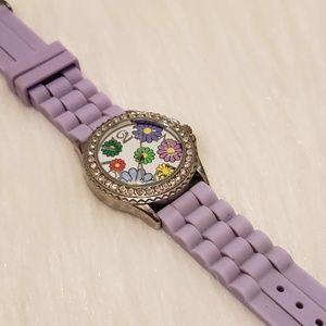 Geneva Women's Purple Flower Quartz Watch